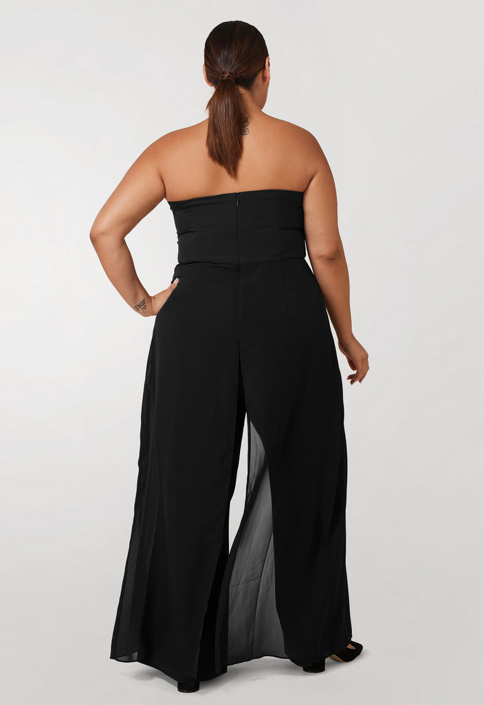 Black Strapless Jumpsuit with Chiffon Overlay