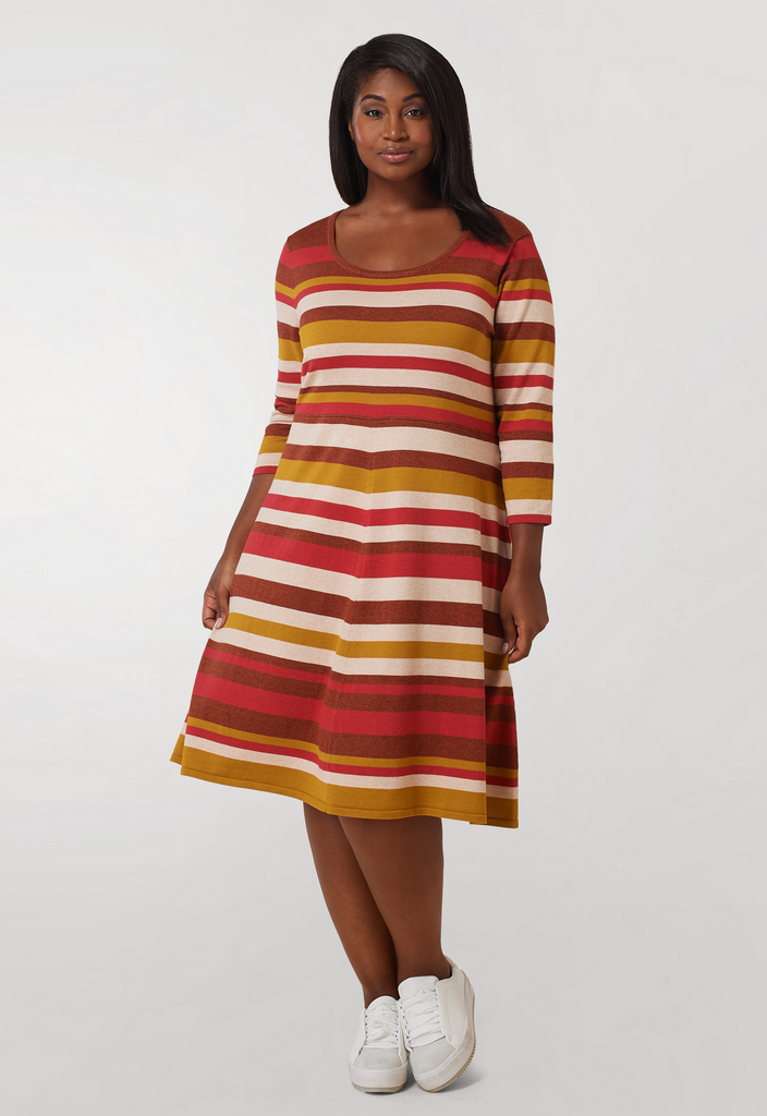 Rust Striped Fit and Flare Sweater Midi Dress
