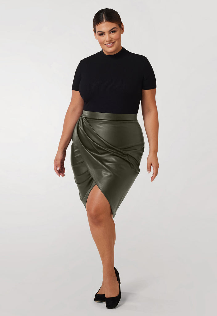 The Olive Pleather Pleated Skirt