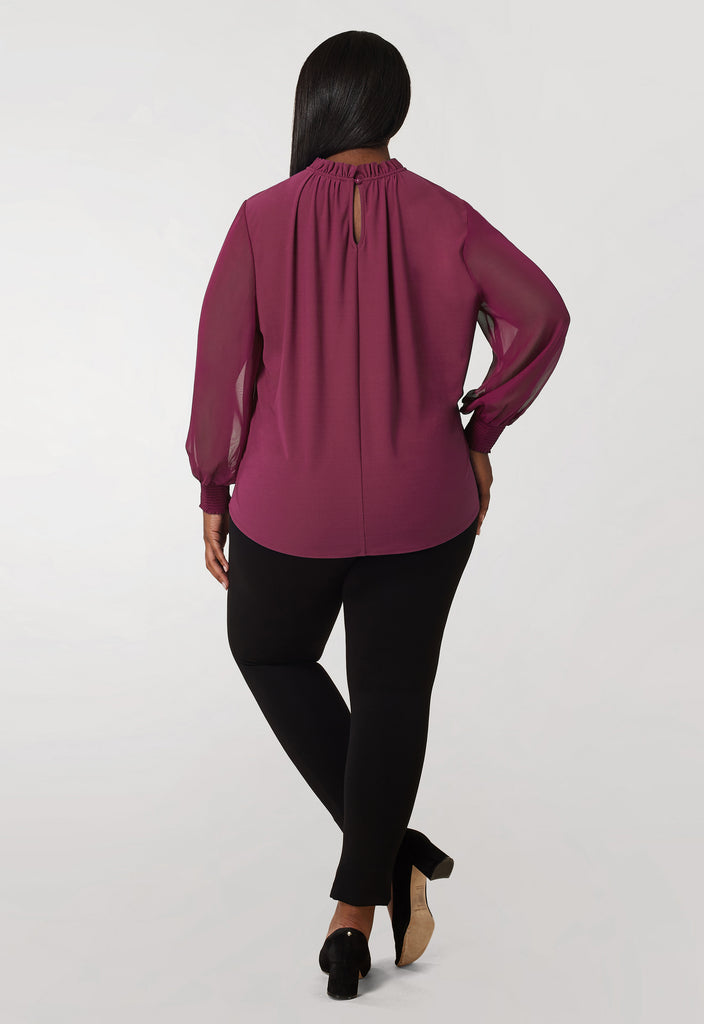 Purple Crepe Knit / Chiffon Sleeve Blouse