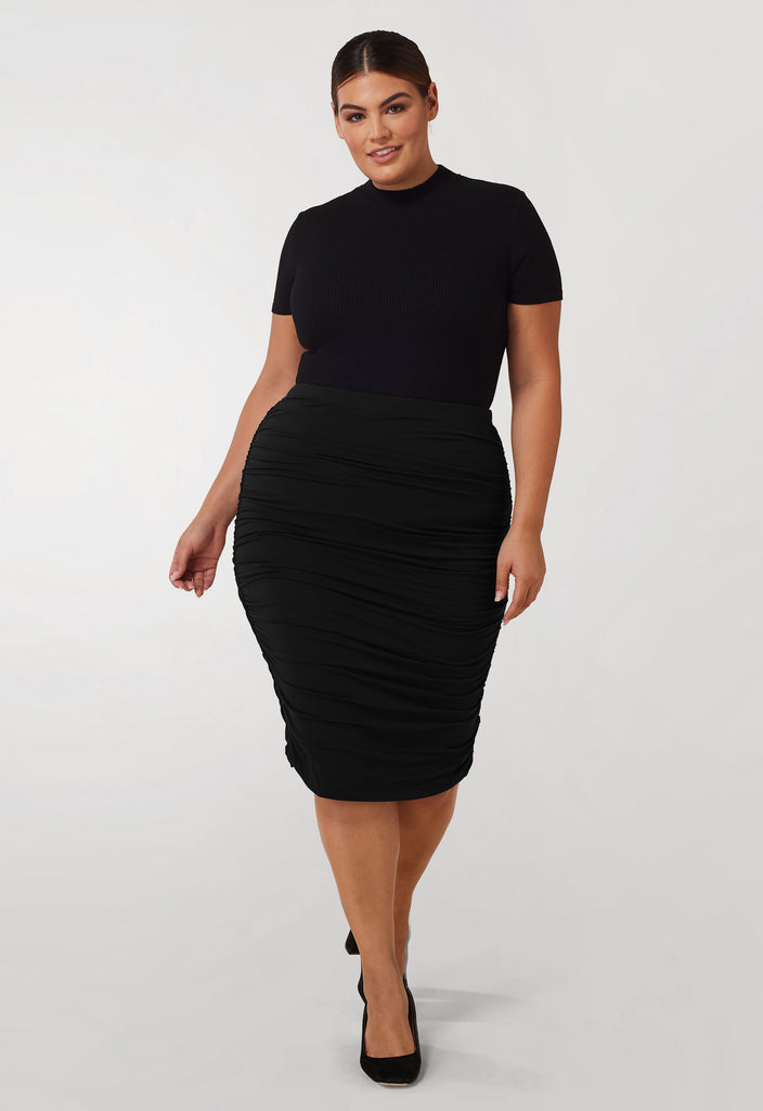 The Black Ruched Jersey Skirt