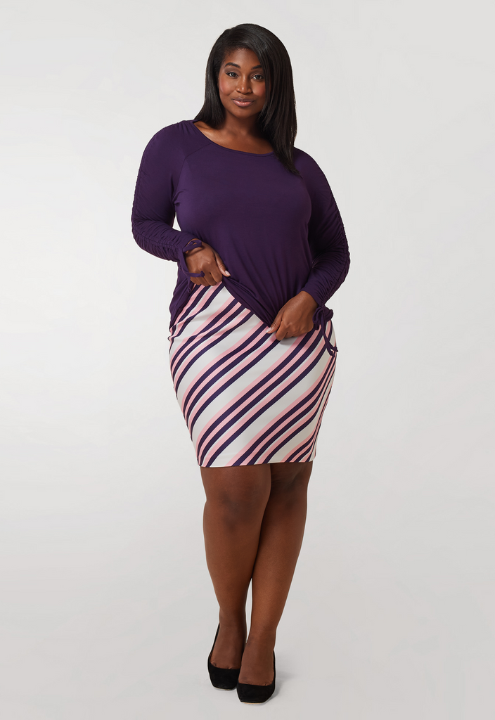 Purple Ruched Sleeve Knit Top - **Additional 30% off with discount code Winter30**