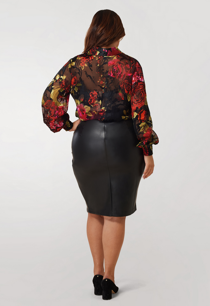 Silk Charmeuse Burnout Blouse- **Additional 30% off with discount code Winter30**