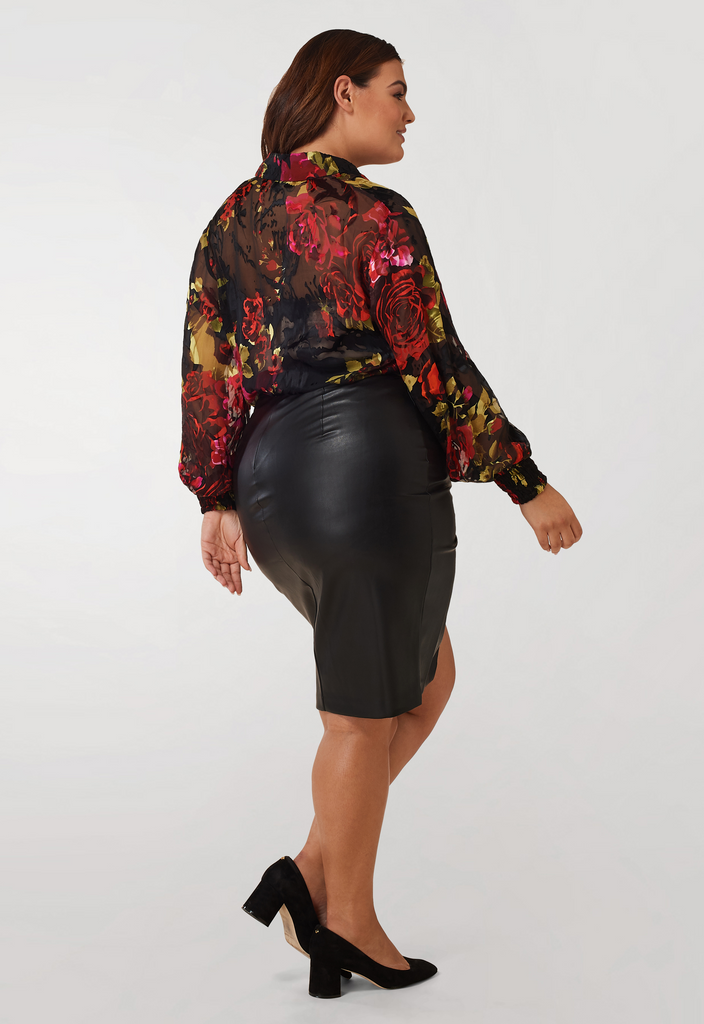Silk Charmeuse Burnout Blouse