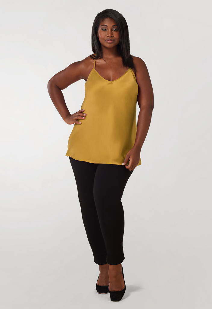 Mustard Washed Silk Charmeuse Tank
