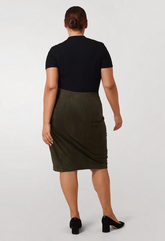 The Olive Suede Pencil Skirt