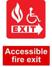 Load image into Gallery viewer, Accessible Fire Exit Sign Red Right
