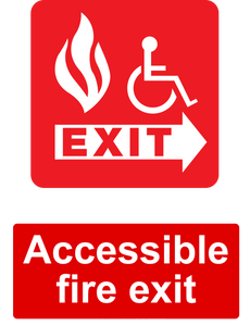 Accessible Fire Exit Sign Red Right
