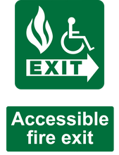 Load image into Gallery viewer, Accessible Fire Exit Sign Green Right
