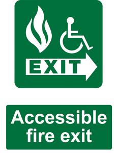Accessible Fire Exit Sign Green Right