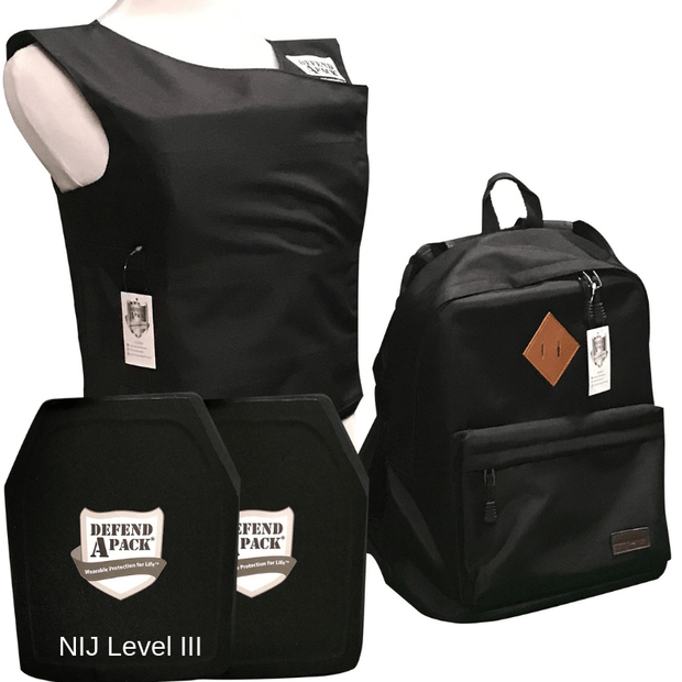DefendApackGear.com Bulletproof Armored Protection Products Small / Black Bulletproof Backpack and Vest Combo Pack NIJ LEVEL 3 (AR-15-Tested) Bulletproof Protection