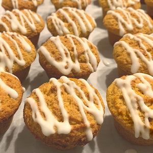 Pumpkin Spiced Ginger Glazed Mini Muffins - Sugar Free & Keto Friendly