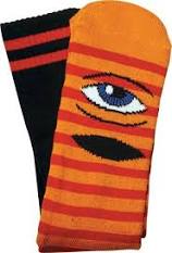 Toy Machine Sect Eye Stripe Crew Socks Orange/Black/Red