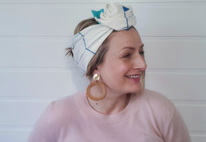 Josephine Wired Head Wrap - Regular -  Ivory / Reef