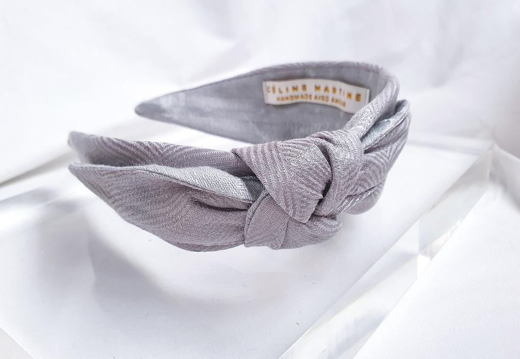 Mathilde Side Knot Headband - Slim - Interstellar Silver