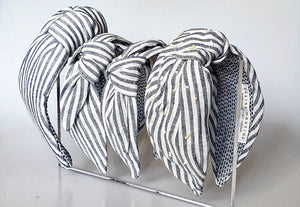 Jeanne Turban Headband - Blue & White Stripes