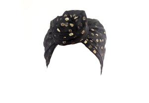 Josephine Wired Head Wrap - Black Chiffon - SECONDS