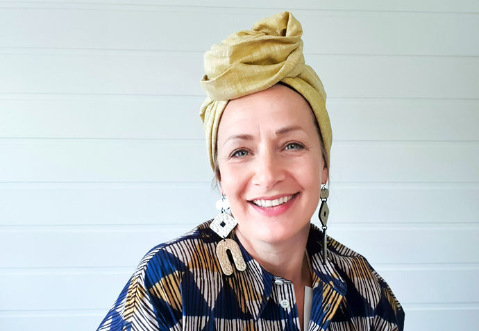 Josephine Wired Head Wrap - Sand Linen - Extra Length
