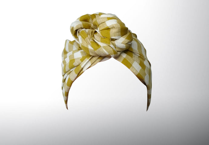 Josephine Wired Head Wrap - Chartreuse Check - Extra Length