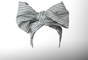Josephined Wired Head Wrap - Blue & White Stripes