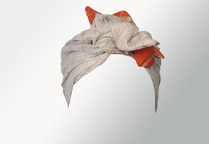 Josephine Head Wrap - Regular - Grey Orange Saree