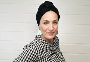 Josephine Wire Head Wrap - Long - Black Twisted Yarn Linen