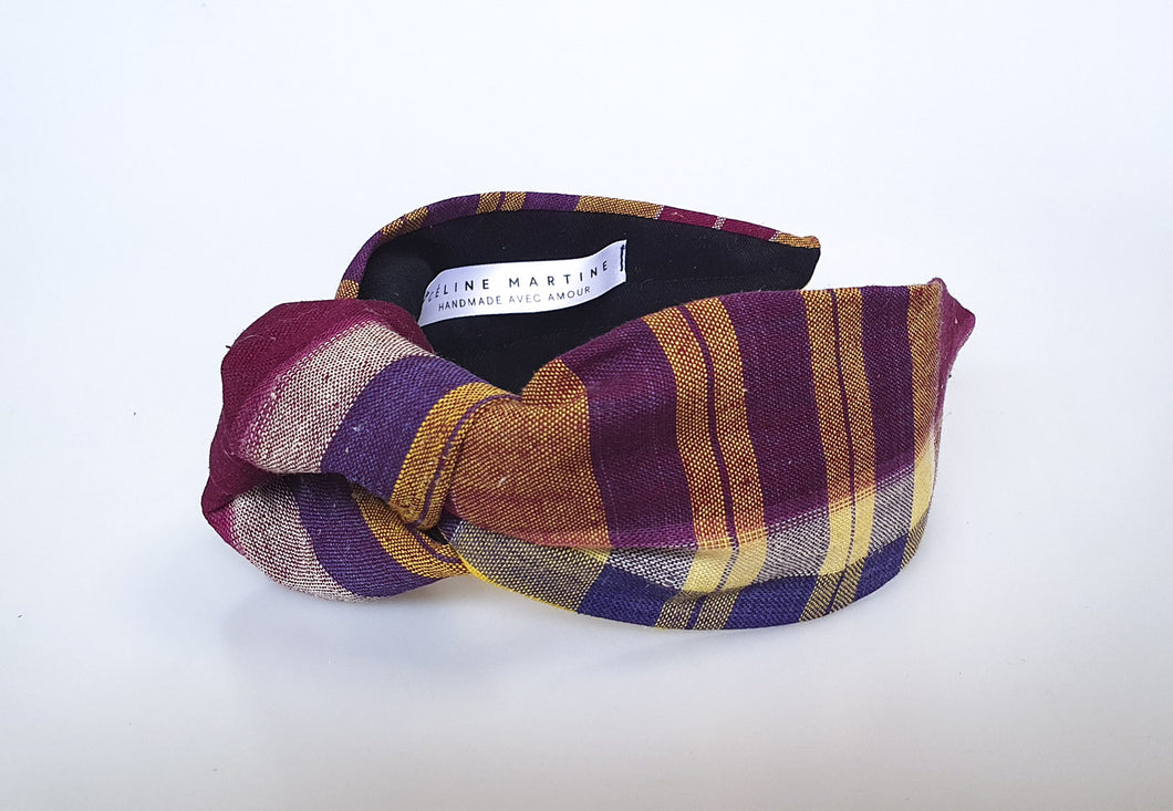 Céline Martine - Simone Knot Headband - Purple Check