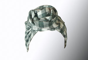 Josephine Wired Head Wrap - Duck Egg Check