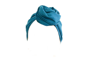 Josephine Head Wrap - Regular - Teal Cotton Linen