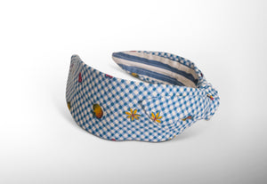 Mathilde Side Knot Headband -  Slim - Gingham