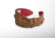 Mathilde Side Knot Headband -  Slim - Gold Brown /Red Polka dots