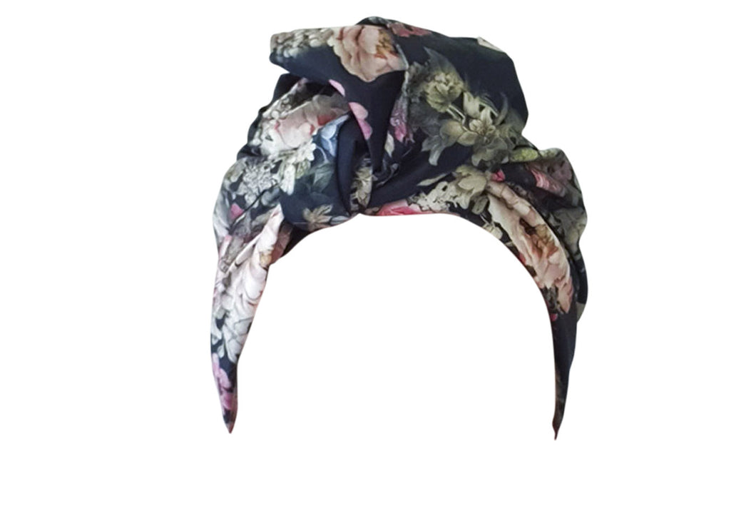 Josephine Wired Head Wrap - Long - Navy Floral
