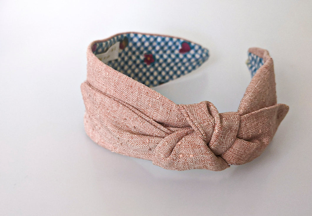 Mathilde Side Knot Headband -  Slim - Peach Linen Blend