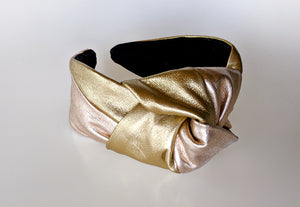 Céline Martine - Simone Knot Headband - Metallic Leather
