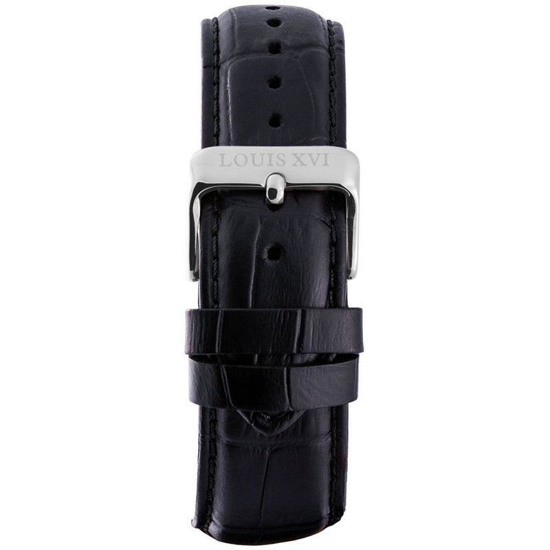 Leather strap - Black/Silver