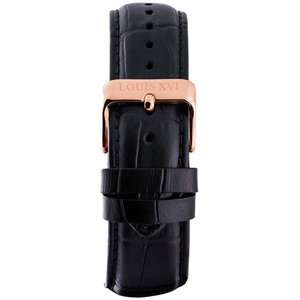 Leather strap - Black/Rose gold