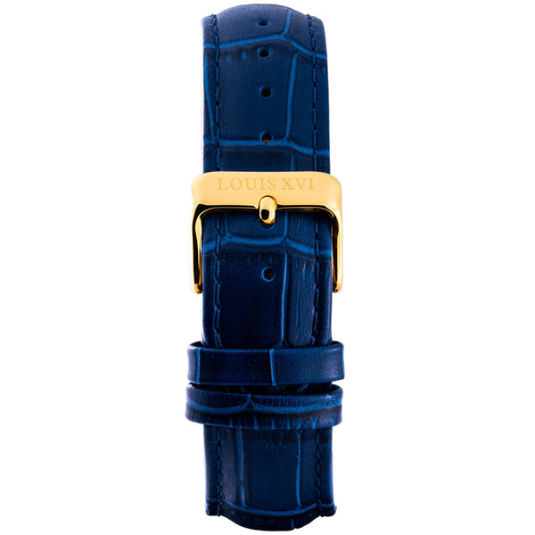 Leather strap - Blue/Gold