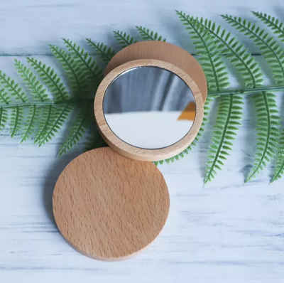 Bamboo Round Pocket Mirror (4506813431875)