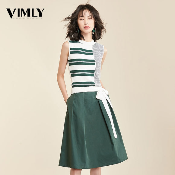 Vimly Women Two Piece Set Knitted Tank Top Skirt Casual Striped Sleeveless Tops Elegant A Line Skirt Ladies Female Clothing