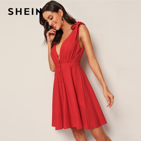 SHEIN Solid Tie Strap Plunging Button Up Skater Summer Dress 2019 Women Cotton Red Dress A Line Sleeveless V Neck Sexy Dress