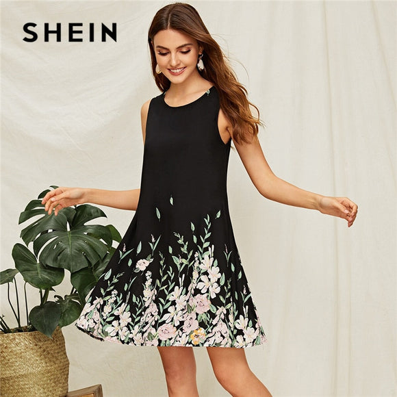SHEIN Flower And Leaf Print Trapeze Summer Dress Women Boho Sleeveless Round Neck Black Dress A Line Casual Mini Dresses