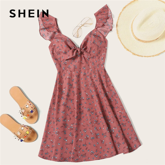 SHEIN Pink Boho Ditsy Floral Knot Neck Ruffle Trim Summer Dress Women Sweetheart V Neck Sleeveless High Waist Sexy Dress