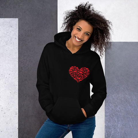 Unisex hoodie with heart design of animal silhouettes on left breast