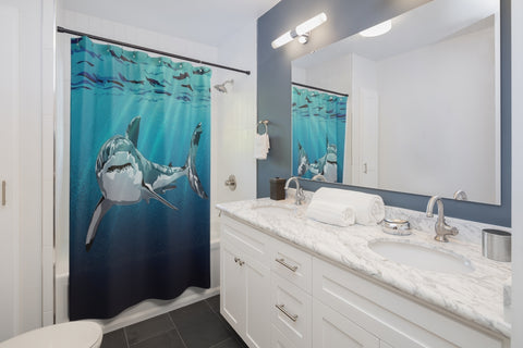 White Shark Shower Curtains