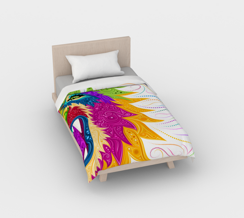 Lion White Duvet Cover
