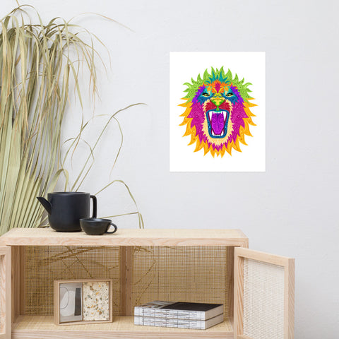 Colorful Lion Vector Poster