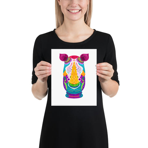 Colorful Rhino on white background paper poster