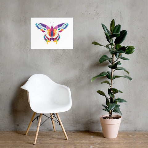 Butterfly white Poster