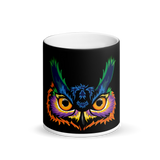 Owl Head Matte Black Magic Mug