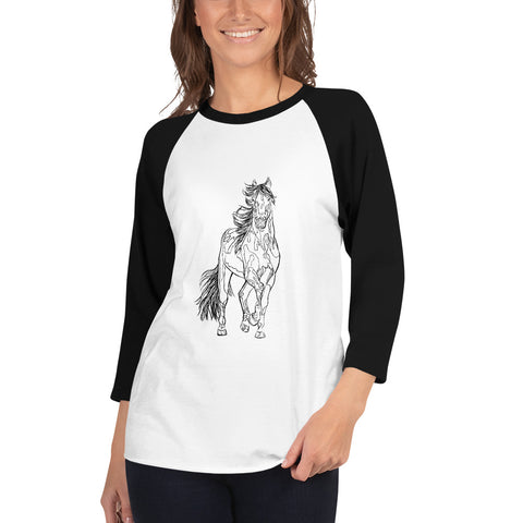 Beautiful Horse 3/4 sleeve raglan shirt